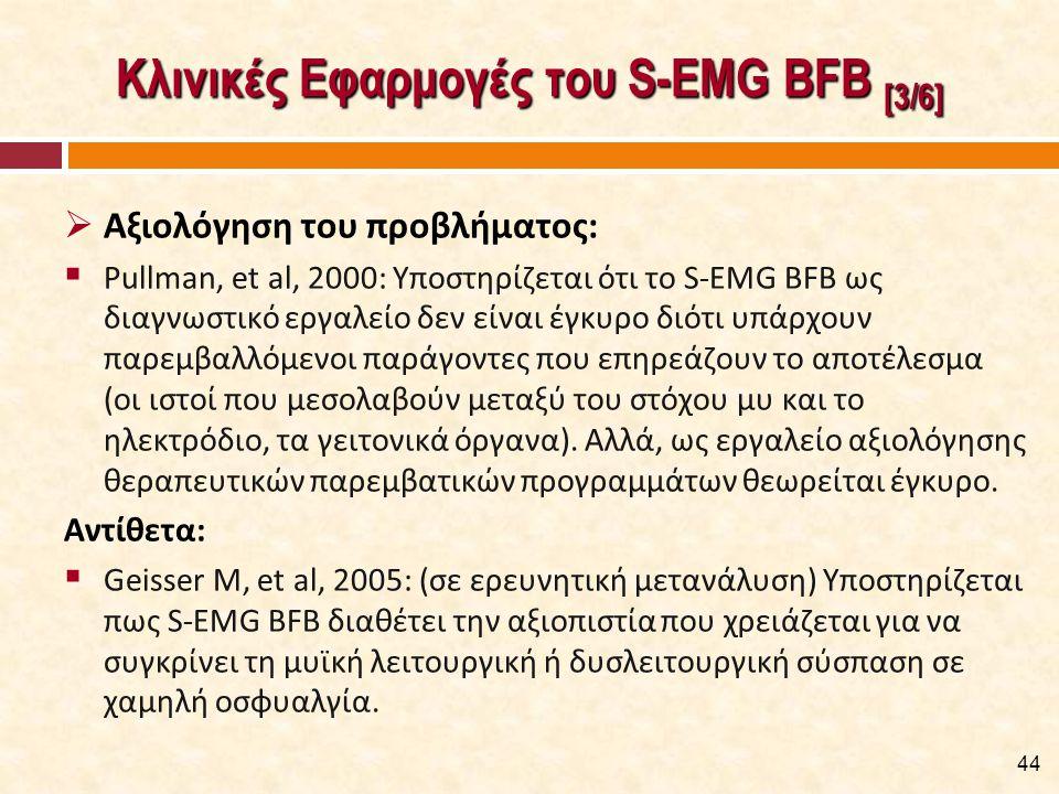Κλινικές Εφαρμογές του S-EMG BFB [4/6]